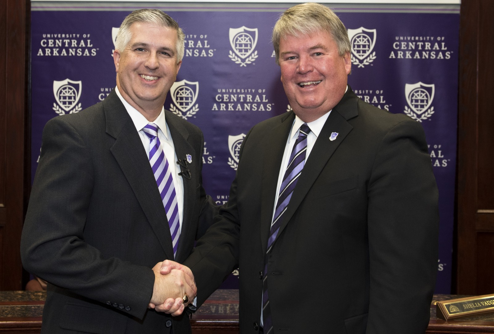 Newly-selected University of Central Arkansas President Houston D. Davis welcomed by outgoing President Tom Courtway