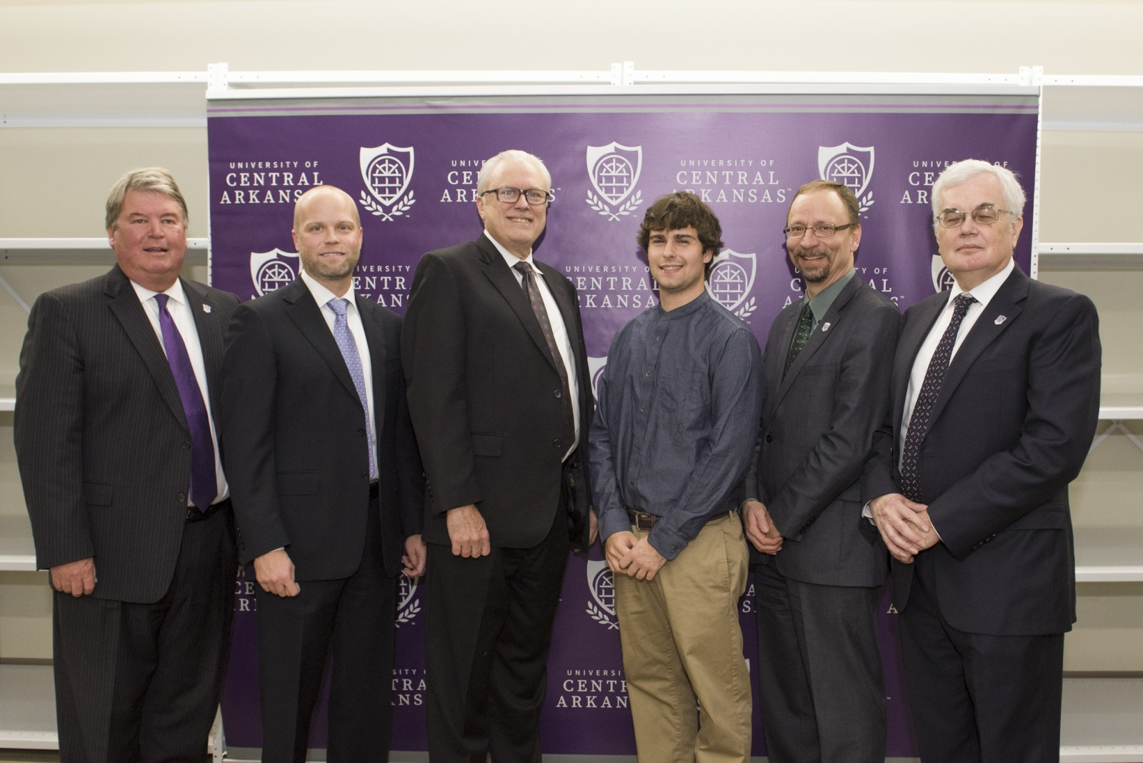 UCA President Tom Courtway; Ryan Ainsworth, Southwestern Energy Company area general manager of Operations-Fayetteville Shale; George Sheffer, Southwestern Energy Company vice president of Operations-Fayetteville Shale; Christopher Robinson, first Southwestern Energy/Steven L. Mueller Research Fellow; Dr. Steven Runge, executive vice president and provost; and Dr. Stephen Addison, dean of the College of Natural Sciences and Mathematics