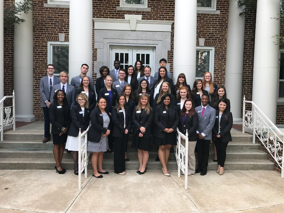 2016-2017 President's Leadership Fellows shown are (first row, from left to right): Mya Hyman, Leia Smith, Sarah Hocott, Sarah Lewter, Treslyn Fletcher, Hershila Lallu, Emilia Barrick, Ty Hollowell and Bertita Barrientos; (second row, from left to right): Jake Linna, Taylor Fegan, Hayley Heacox, Emma Baird, Hannah James, Jenna Schmidt, Taylor Avery, Lauren Morris and Carly Jo Riggins; (third row, from left to right): Devin Dishner, Reid Malone, Emelyn-Doriane Djoke, Dylan Kimery, Kylie Johnson, David Beale, Whitney Meyer, Katie Johnson and Olivia Clement; (back row, from left to right): Azeem Adebayo, Ellen McKinnie and Ha Ram Kim. Not pictured are Wensday Kraemer, Gunnar Bartlett, Abigail Strickland, Arin Natzke, Morgan Sweere and Seth Wilson.