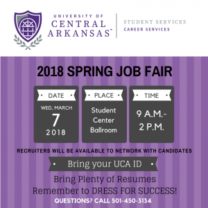 SPRING JOB FAIR TO BRING 80 COMPANIES TO UCA
