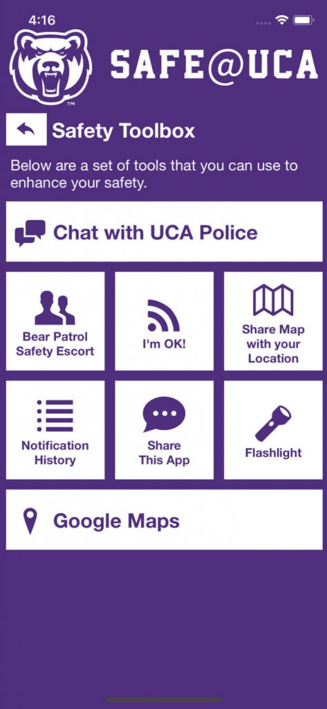 Safe@UCA App Screen
