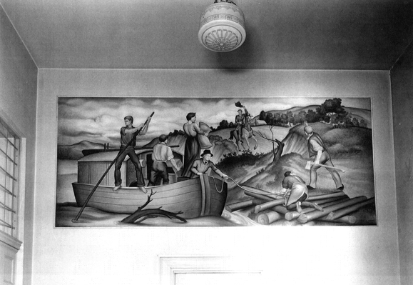 Mural at time of installation. National Archives, Washington, D.C.