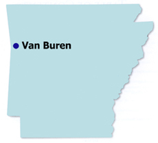 Map of locations of post office murals in Arkansas