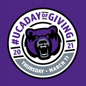 Logo for Day of Giving March 11, 2021 UCA bear and #ucadayofgiving