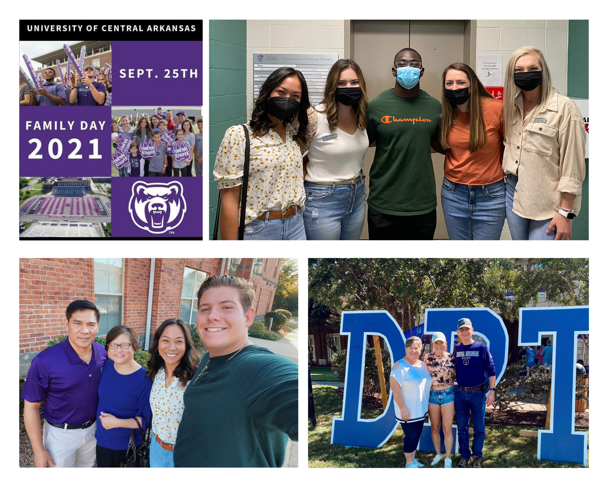 collage of pictures of students and families