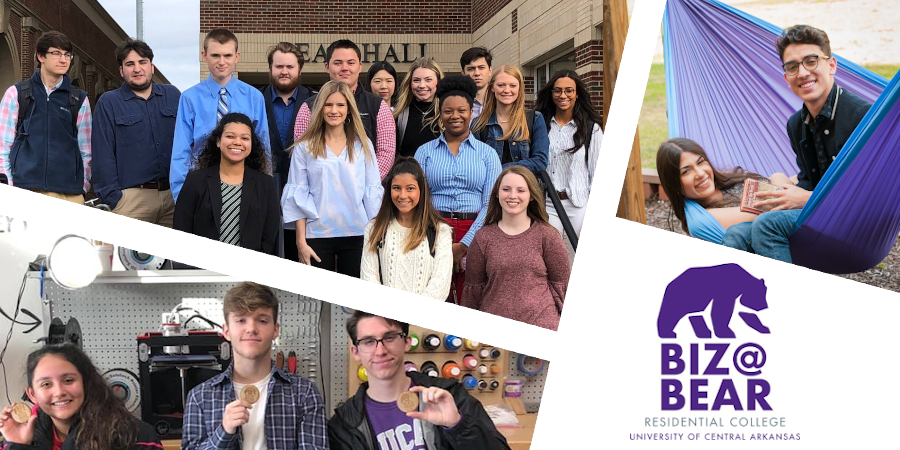 Photo collage of students associated with Bear Hall and the College of Business. Pictures include students hammocking behind Bear Hall, Students with badges they created at MakerSpace, and a group photo of students in business attire.