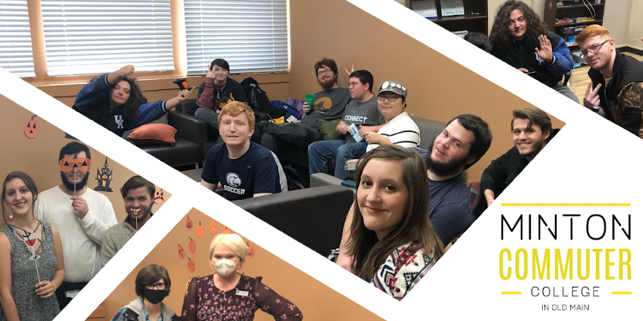 Photo collage of students associated with the Minton Commuter College at Old Main. Photos include students in halloween costumes, students sitting in the Minton Commuter Lounge, and student associates coming together to combine residential college programs.