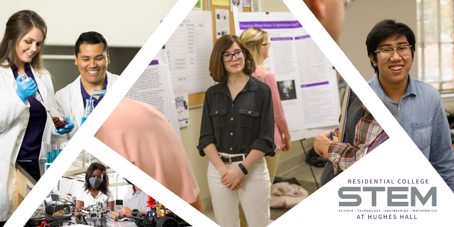 Photo Collage of students associated with STEM and STEM@Hughes Hall. Photos include students interacting with robots they made in engineering class, biology students experimenting with a blue liquid, and students presenting their research at the annual Pseudoscience Fair.