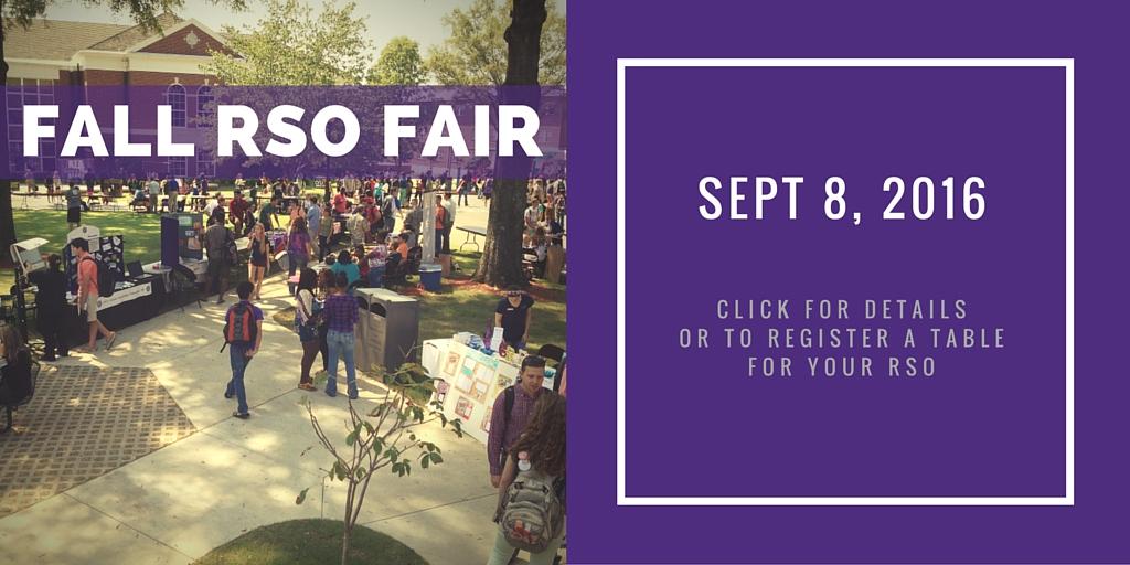 Fall RSO Fair September 8, 2016