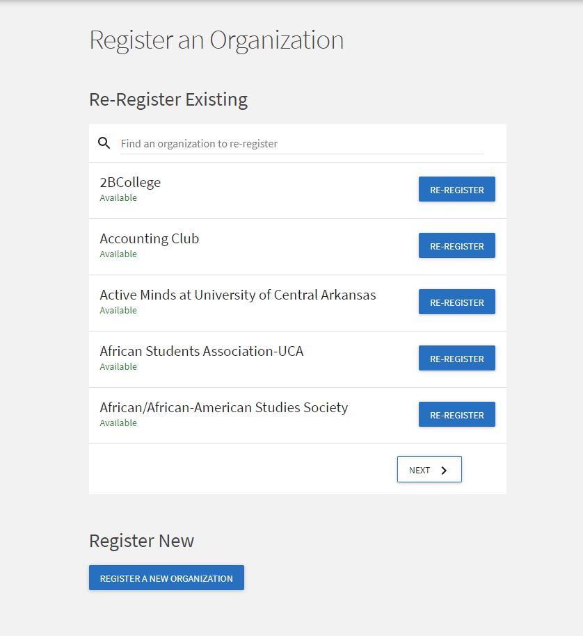 Register New RSO button