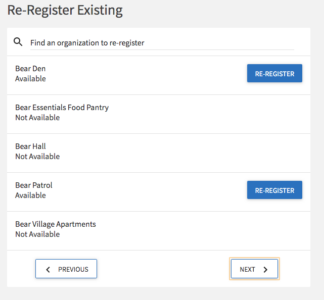 screenshot of re-register page