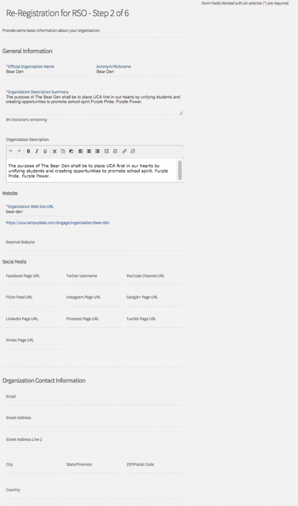 screen shot of reregistration page 2