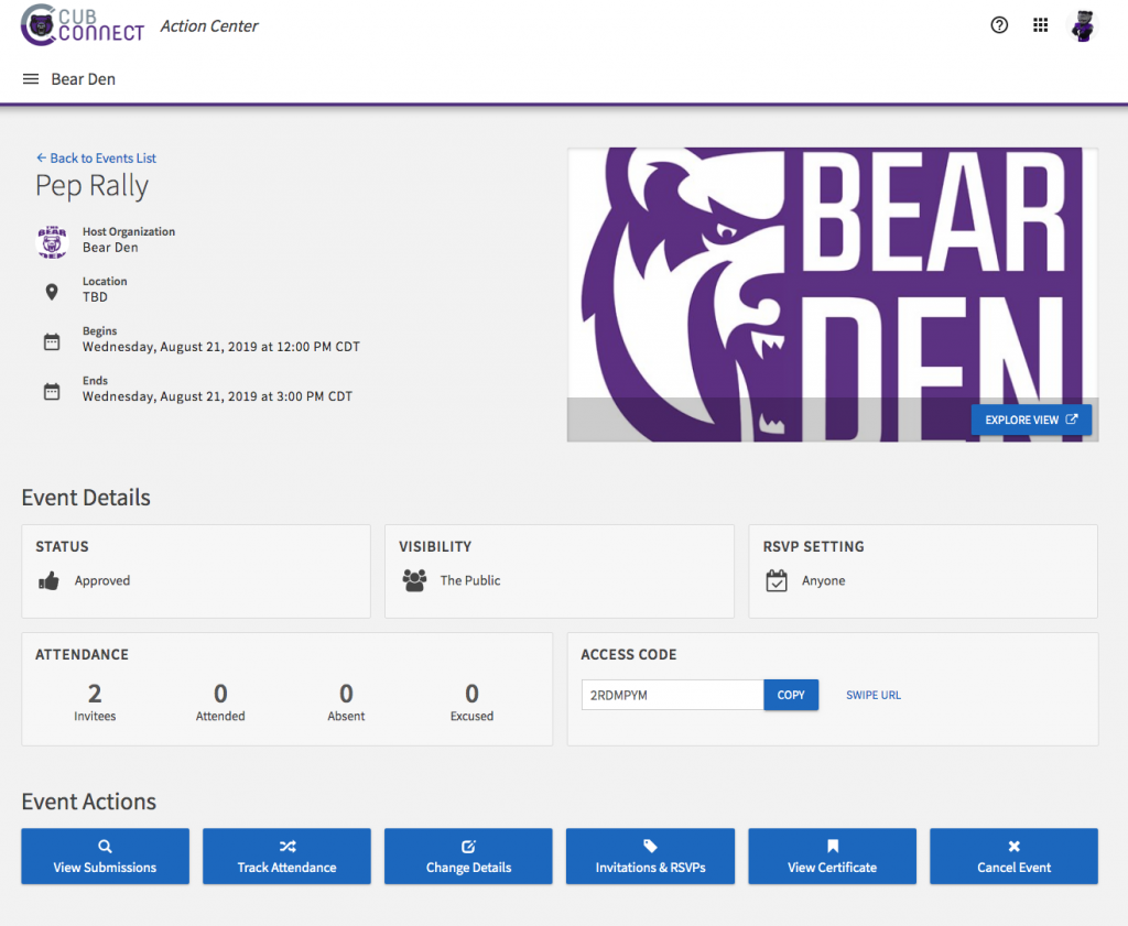 screenshot of event management page