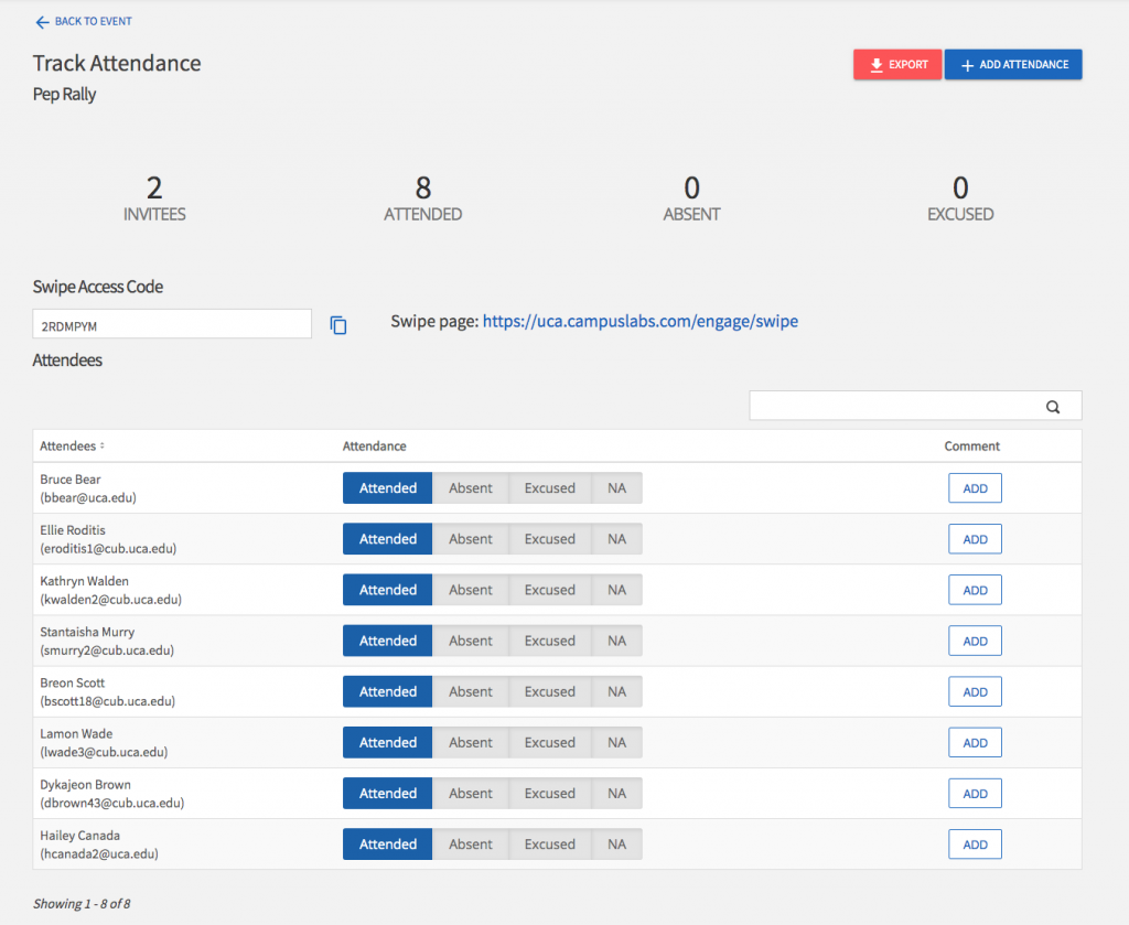 screenshot of event attendance page