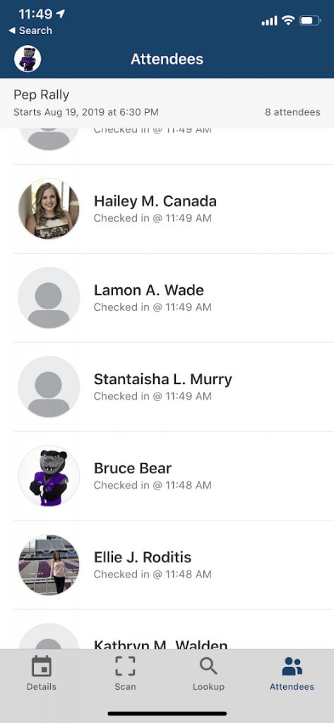 screenshot of attendees list on CORQ app