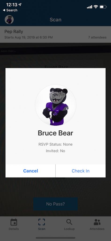 screenshot of check in on CORQ app
