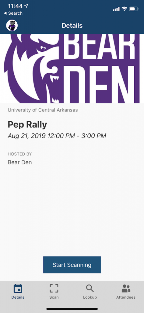 screenshot of event details on check-in app