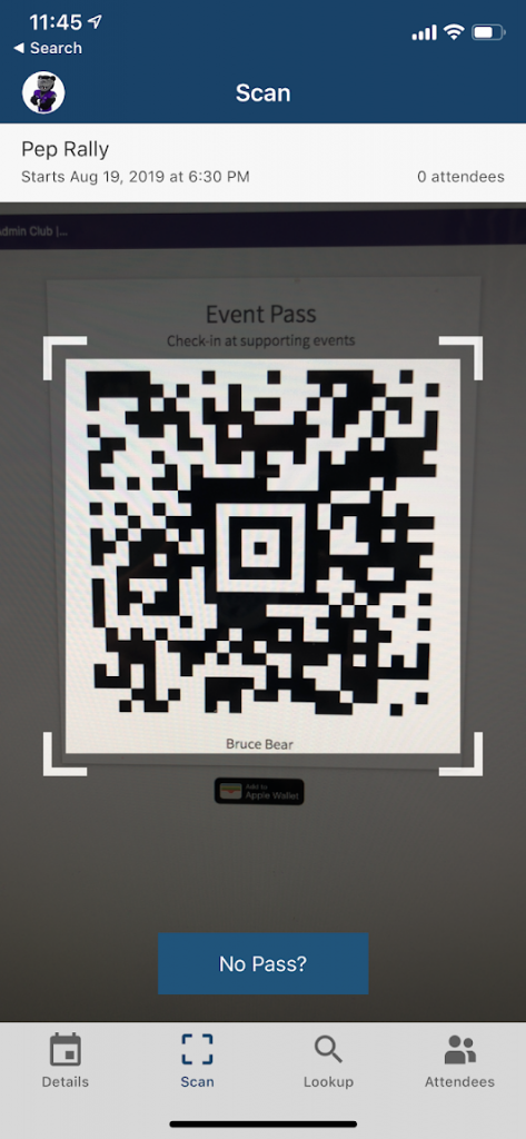 screenshot of scanning an event pass on the check-in app