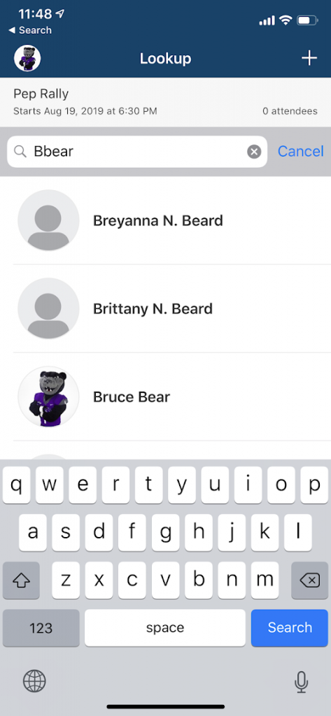 "screenshot of search by ""bbear"""