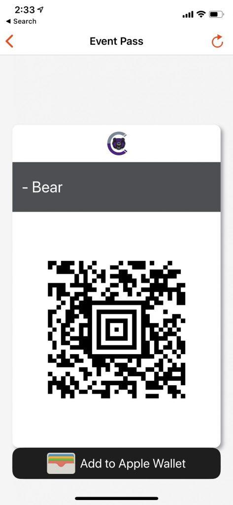 screenshot of Bruce's Event Pass on CORQ app