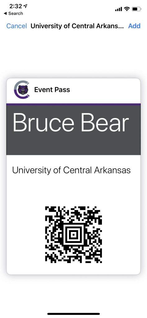 screenshot of Bruce D Bear's Event Pass on CORQ app