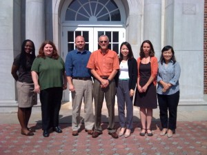 Left to Right: Riva Brown (Communications), Tanya Jeffcoat (Philosophy and Religion), Michael Rosenow (History), Peter Mehl (Service-Learning Faculty Liaison), Li Zeng (Art), Sally Entrekin (Biology), Jia Zhu (World Languages)