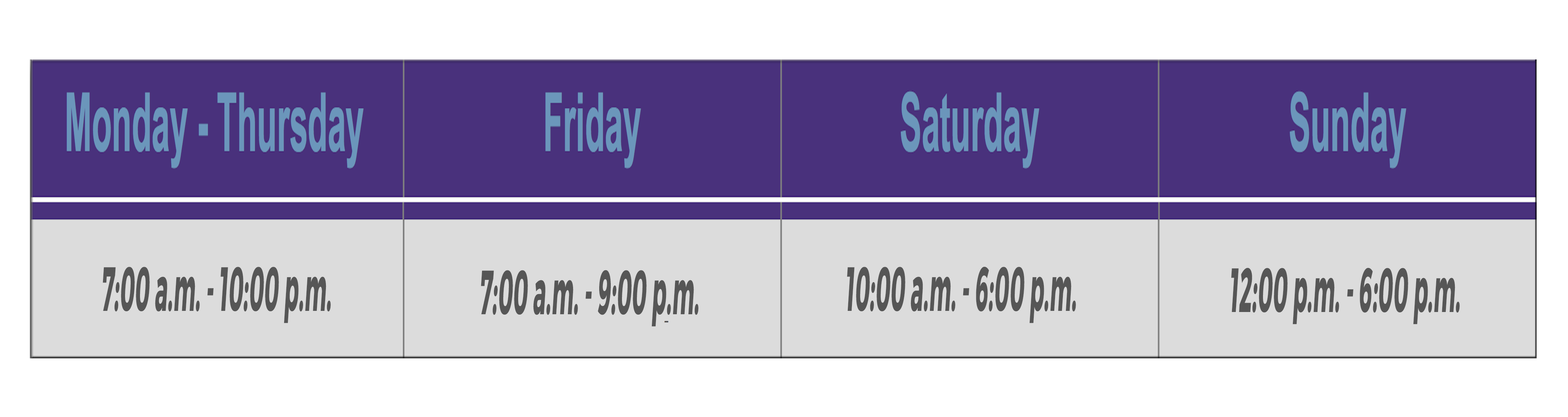 Student Center Hours of Operation